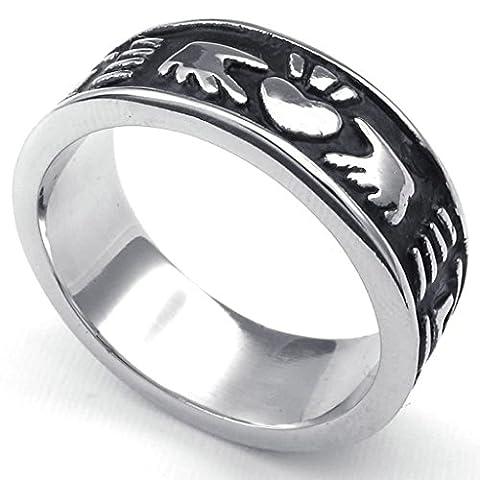 AMDXD Taille 62 Coeur Claddagh De Celtic Band 8Mm En Acier Inoxydable Bijoux Anneaux Noir (Oro Celtica Claddagh Croce)