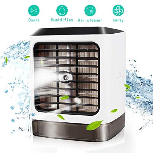 Mini Luftkühler USB Tragbare Luftkühler 3 in 1 Air Cooler mit Klima Ventilator Luftbefeuchter Luftreiniger 3 Kühlstufen 7 Stimmungslichter, für Büro, Zuhause, Camping, Reisen
