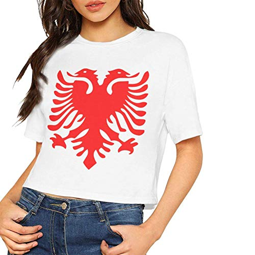Frauen Sexy Kurzarm T-Shirt Albanische Flagge Gedruckt Casual Sommer Tees Bluse Tops Nabel (X-Large, Weiß) Velvet Holiday-outfit