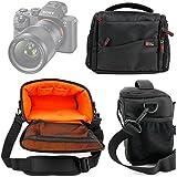 DURAGADGET Sacoche noir/orange pour appareil photo Bridge Sony DSC-HX60, HX400V, NEX-5T et RX100 II / DSC-RX100M2 et leurs accessoires et leurs accessoires - Garantie 2 ans