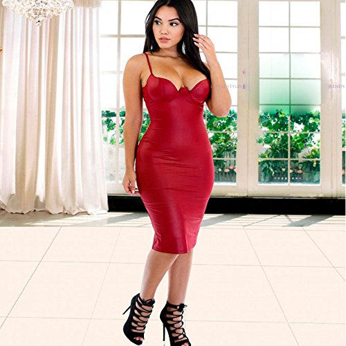 HLBandage Pu Leather Spaghetti Strap Padded Bra Knee Length Party Bandage Dress Rosso scuro