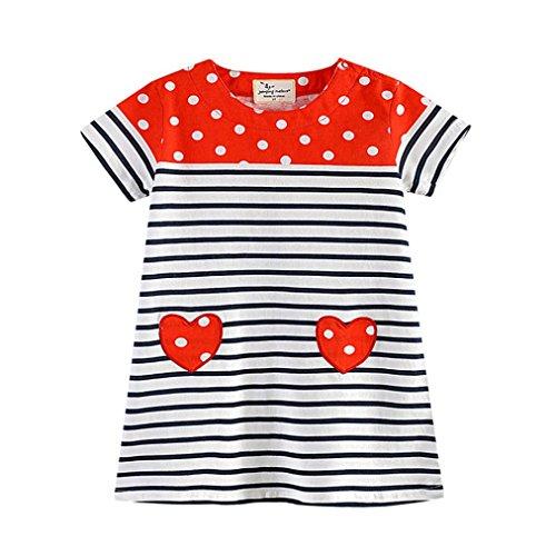 Malloom® Kleinkind Baby Kind Mädchen Herz Print Polka Dot Kleid Streifen Kleid Kleidung rot (rot, 110) (Kleider Mädchen 2-pack)