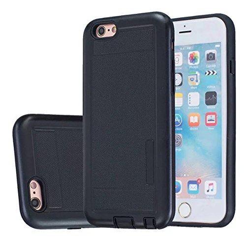 iPhone Case Cover 2 In 1 neue Rüstung Solid Color Dot Muster mattiert Stil Hybrid Dual Layer Rüstung Defender PC Hard zurück Fall Deckung Shockproof Fall Für Apple IPhone 6S 4,7 Zoll ( Color : Black , Black