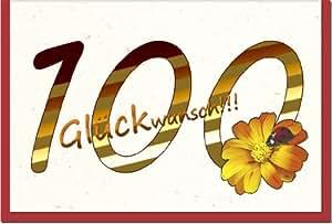 Metalum - Biglietto d'auguri per 100° compleanno, con inserto in 3D a forma di fiore con coccinella
