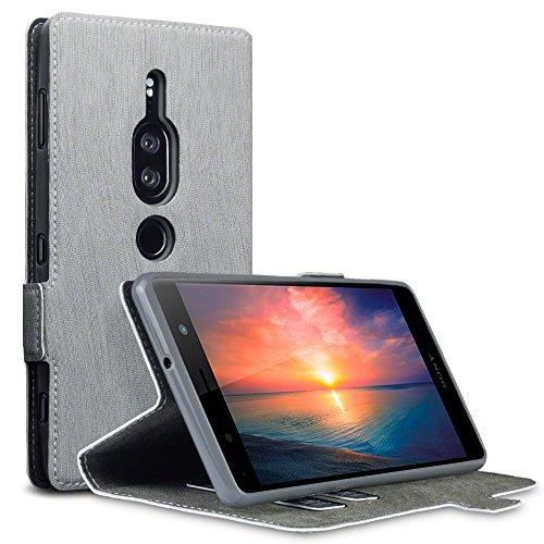 TERRAPIN, Kompatibel mit Sony Xperia XZ2 Premium Hülle, Leder Tasche Case Hülle im Bookstyle mit Standfunktion Kartenfächer - Grau