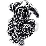 Konov Jewellery Vintage Stainless Steel Band Casted Grim Reaper Skull Biker Mens Ring, Color Black Silver (with Gift Bag)