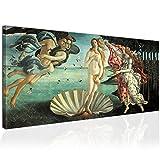 Topquadro XXL Wandbild, Leinwandbild 100x50cm, Die Geburt der Venus, Göttin der Liebe und Schönheit, Renaissance - Botticelli - Panoramabild Keilrahmenbild, Bild auf Leinwand - Einteilig