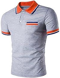 51f9405d5150 Klassisches Poloshirt Herren T Shirt Top Sommer Kurzarm Polohemd Slim Fit  Polo Shirt Splice T-Shirt Hemden Freizeithemd Zhen+ Männer…