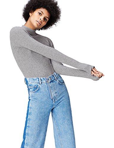 find. Pullover Damen gerippt, mit Tunnelkragen, kurzer Silhouette und enger Passform, Grau (Silver Grey), 38 (Herstellergröße: Medium) -