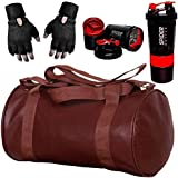 5 O' CLOCK SPORTS Combo Set of Brown Soft Leather Gym Bag, 49 x 24 x 24 cm, Red Spider Shaker and Black Leather Gym Gloves with Wrist Support