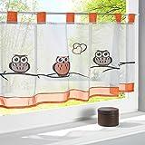 1PC Cute Owl Broderie de cuisine Brise-bise Voilage Cafe Panneau de rideaux, blanc, Width*Height=145*60 cm/57*23.6 inches
