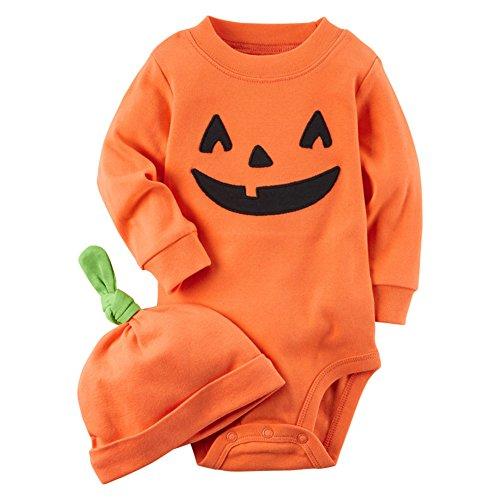 Pyjamas Set Kind Junge Mädchen Baby Oranger Schlafanzüge Baumwolle Child Nachtwäsche 5 Monate-3 Jahre Orange Höhe 90cm (Säugling/kleinkind Tier Halloween Kostüme)