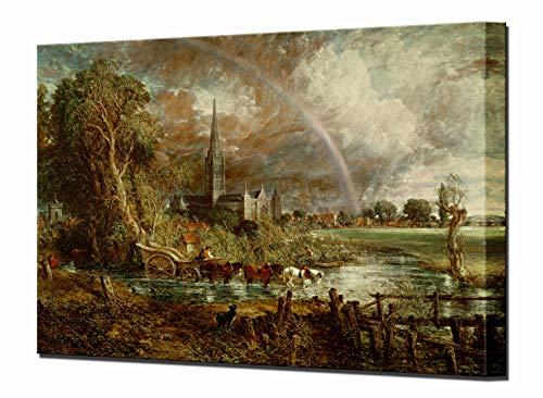 Catedral de Salisbury del agua Meadows Impresión de Lienzo por John Constable cuadro enmarcado de la pared listo para colgar de alta calidad (80 x 55 cm) estirada, 43 x 34 cm