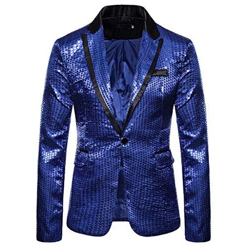 Aoogo Blazer Kostüm,Herren Casual One Button Fit Anzug Blazer Mantel Jacke Pailletten Party Top Gold Pailletten Blazer Anzüge Jacket (Iron Mann Kostüm Zu Arbeiten)