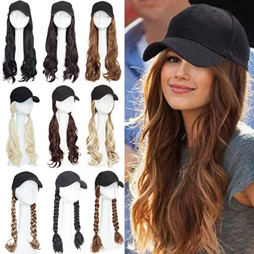 Elailite Peluca de extensión de cabello con gorra de béisbol Extensiones de cabello sintético Cap...