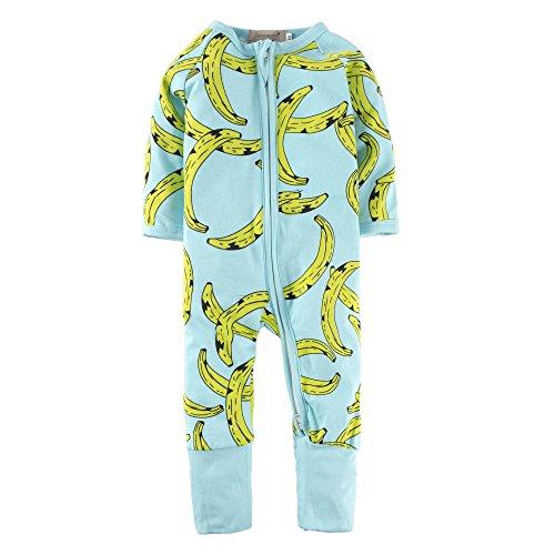 BIG ELEPHANT Baby Jungen Oder Mädchen 1 Stück Langarm Nachtwäsche Banana Print Zipper Strampler L17