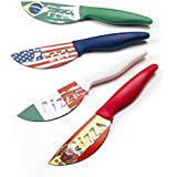 Brandani 81503Pizza–Juego de cuchillos, acero inoxidable, diseño: Banderas España, Italia, Estados Unidos, Brasil