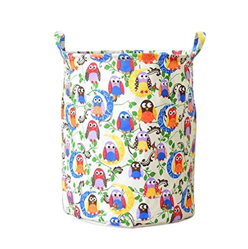 Jeelinbore secchio cilindrico di tela cesti per portabiancheria scatole di immagazzinaggio organizzatore borsa stoccaggio organizzazione lavanderia (gufo colorato, 35x45cm)