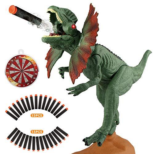 Baztoy Dinosaurier Pistole Spielzeug mit 30 Darts für Kinder Junge Mädchen Groß Dino Figuren mit Brüllen Augen Leuchtend Tier Shooter Gewehr Spiel Geschenke für Party Dekoration Garten Indoor Outdoor