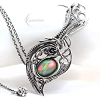 Wire wrapped pendant gift for her gift for woman special gift for girlfriend wire wrap opal pendant silver pendant gothic jewelry opal