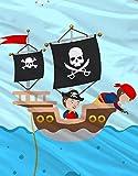Aminata Kids Kinder-Bettwäsche 100-x-135 cm Pirat-en Piraten-Schiff Schatz Toten-Kopf-Flagge Baby-Bettwäsche 100-% Baumwolle Renforce Bunte hell-blau Junge-n Test