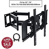 Lumsing® Soporte de pared para TV de 37 - 65 pulgadas con un cable HDMI para Todos LCD LED Plasma TV (LG, Sony, Philips, etc), brazos dobles de de girar e inclinarse, Apoya Max Vesa 600mm * 400mm