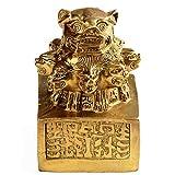 LINGS Statues de Lions Chinois, Phoque Chinois à 9 têtes, en Laiton Pur, décoration Feng Shui, Accessoire de prospérité, Sculpture pour Maison et Bureau...