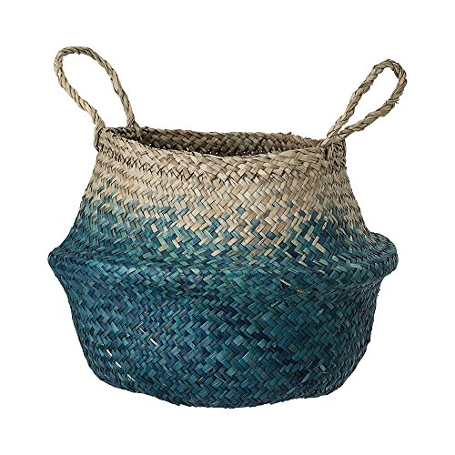 Deko Korb mit Griff aus Seegras in natur und blau, Ø30xH23 cm, Flechtkorb zur Aufbewahrung für Wäsche, Spielzeug oder Pflanzen, handmade (Mit Griff Seegras-korb)