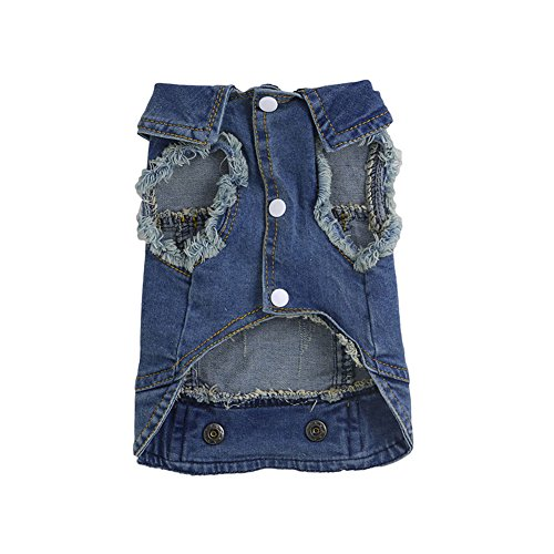 dairyshop Hund Soft Blue Jeans Denim Jacke Kleidung Mantel, PET CAT Cute Welpen Kostüm (Kostüme Cute Girl Lion)