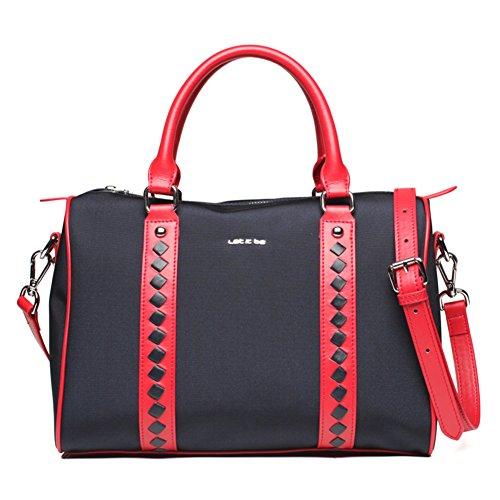 Messenger bag/signore tempo libero canvas bag/borsa in nylon oxford cloth-Nero Rosso