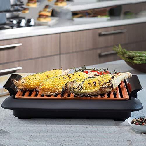 Piastra per barbecue elettrotermico Fast BBQ Grill senza fumo con quadrante di temperatura (Colore: nero)
