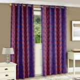 Story@Home Nature Eyelet Dots Basic Polyester Door 2 Pieces Curtains, 7 ft, Violet