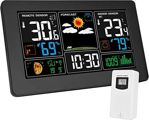 Kalawen Wetterstation mit Außensensor Innen und Außen 9-IN-1 Wireless Digital Wecker Barometer Temperatur-Feuchtigkeits-Monitor Wettervorhersage für Zuhause Hausgarten Büro