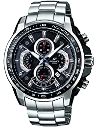 Casio Edifice Men's Quartz Watch with Black Dial Analogue Display and Silver Stainless Steel Bracelet EF-560D-1AVEF