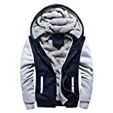 ZIYOU Herren Dicker Sweater Jacket mit Kapuze Outwear Winterjacke Wintermantel Steppjacke Trenchcoat Freizeit Outdoor Streetwear Coat (EU-50 / CN-XL,Blau)