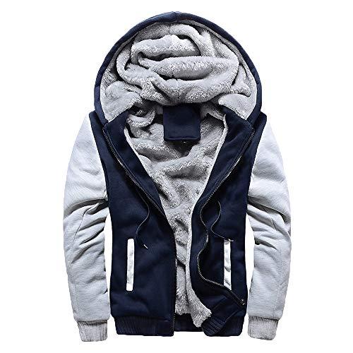 Yesmile ⭐ Abrigo de algodón de Invierno para Hombre Suéter con Cremallera con Capucha Chaqueta Informal Suelta Ropa de Abrigo Caliente Capa de Color Suave Talla Extra