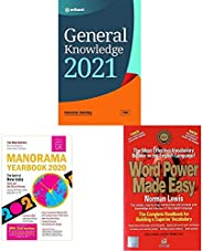 General Knowledge 2021+The Malayala Manorama English Yearbook 2020+Word Power Made Easy(Set of 3 books)