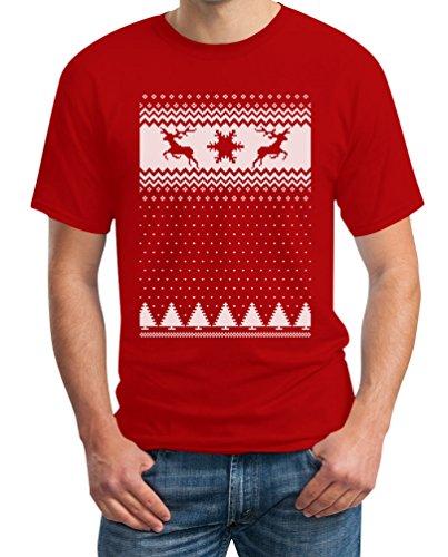 Schöner Weihnachtspullover Rehntiere im Schnee T-Shirt Rot