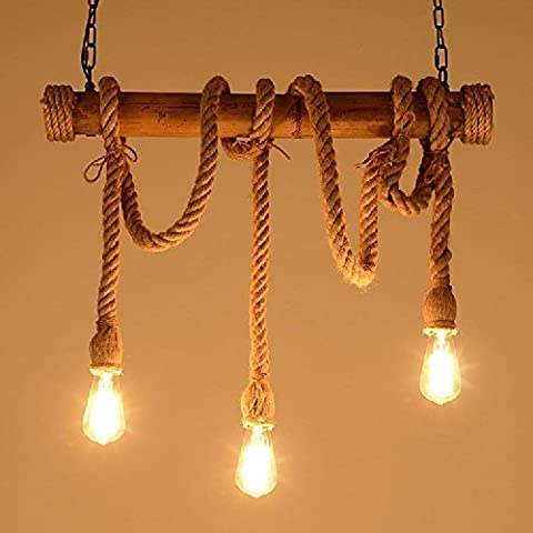 Hines Cafe Rope Pendant Innovations Rope, Chandelier, Home Fashion Pendant, Vintage Vibe, 3 Head [Energy Class A +] Size: 74,6 X 26,4 X 18,4 Cm