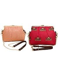 PITARA Brocade & Canvas Women Classic Sling Bag (Pack Of 2, Peach & Pink, P45_P46)