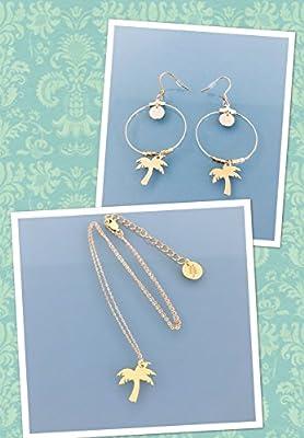 Parure Boucles d'oreilles créoles et collier palmier doré à l'or fin 24k, Créoles, bijoux cadeaux, cadeau femme, créoles, bijou palmier