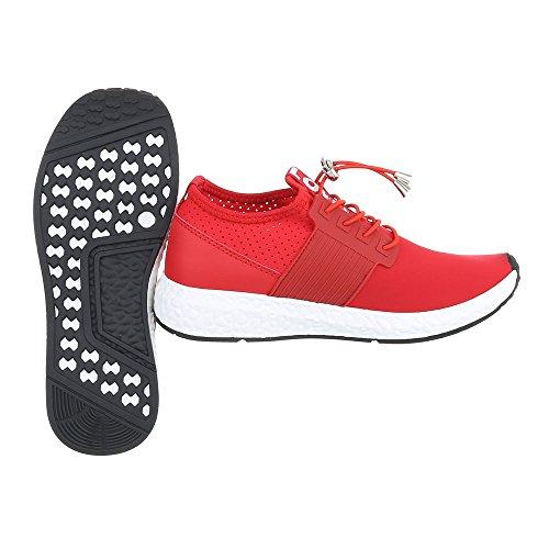 Sportschuhe Damenschuhe Geschlossen Sneakers Schnürsenkel Ital-Design Freizeitschuhe Rot 499-Y