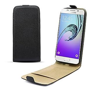 Moozy Shine Pocket Vertikale Hülle für Samsung Galaxy A3 (2016) / A310, Schwarz - Diamant Glanz Effekt Flip Handy Tasche
