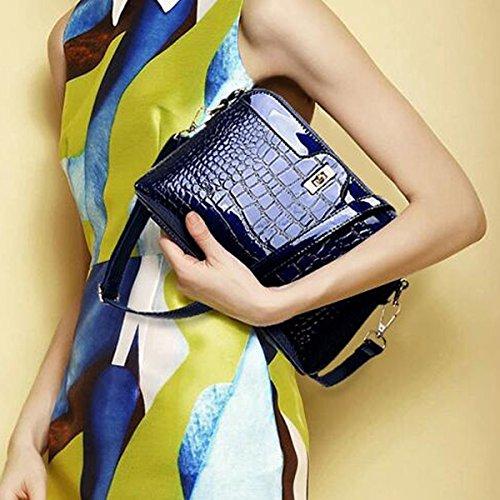 Borsa A Tracolla Del Sacchetto Di Cuoio Dell'unità Di Elaborazione Del Sacchetto Di Cuoio Del Crocodile Di Modo Delle Donne Womens Multicolor Blue