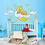 R00040 Adesivo murale per bambini Wall Art - Orsetto sogni d'oro - Misure 120x30 cm - Decorazione parete, adesivi per muro, carta da parati