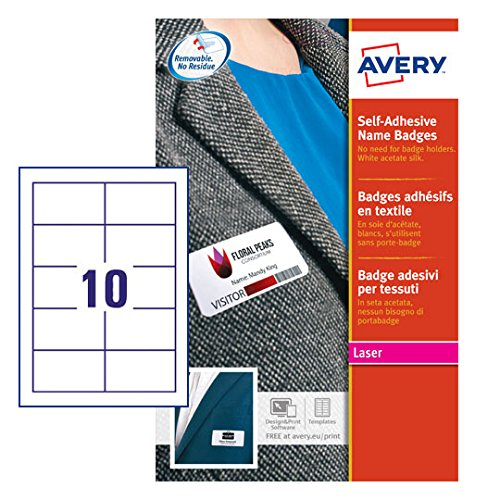 Avery Zweckform L4785-20 Namensetiketten für Laserdrucker (200 Namensschilder, ablösbar, 80 x 50 mm) 20 Blatt, weiß