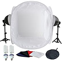 PMS®estudio de fotografía 2x 5500K Lámparas de luz diurna con Trípode tienda de luz 80x80x80cm cubo de luz y 4 fondos