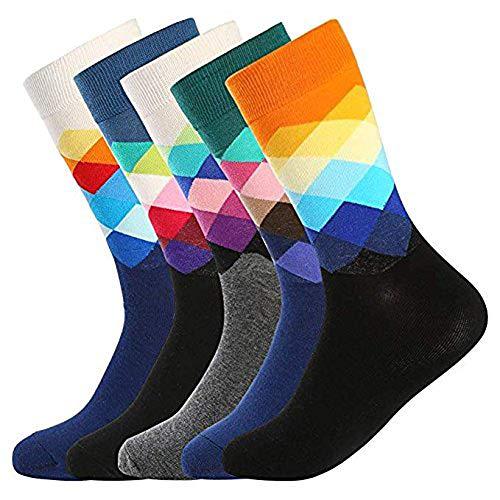 5 Paar Bunt Gemusterte Herren Socken - Bunte lustige Neuheit Crazy Fashion Office Crew Socken Pack, coole Kunst Casual Socken für Männer
