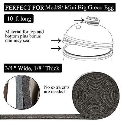 HR Mydracas High Temp Grill Dichtung, Ersatz für mittel/klein/groß/grün/grünes Ei BBQ Smoker Dichtung, vorgeschrumpftes Zubehör, selbstklebend, Filz, 3 m lang, 1,9 cm breit, 0,8 cm dick
