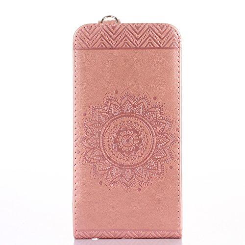 iPhone 6S Plus Portefeuille Coque, iPhone 6Plus Coque en cuir, Apple iPhone 6Plus 6S Plus Paillettes Coque, CE fait à la main Bling Diamants Papillon en relief de pissenlit PU Cuir avec Support, poi Mandala Light Pink